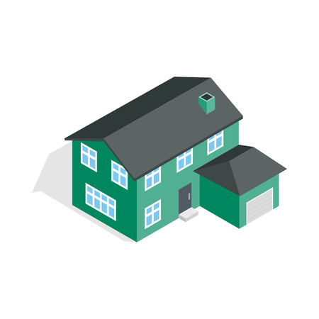 two storey: Two storey house with garage icon in isometric 3d style isolated on white background. Construction symbol