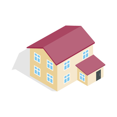 two storey: Two storey house icon in isometric 3d style isolated on white background. Construction symbol Illustration