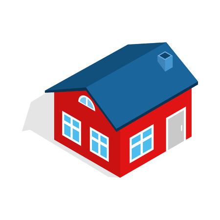 attic: House with attic icon in isometric 3d style isolated on white background. Construction symbol Illustration
