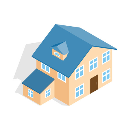 two storey house: Two storey house with annexe icon in isometric 3d style isolated on white background. Construction symbol