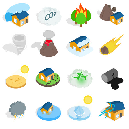 hurricane disaster: Natural disaster catastrophe icons set in isometric 3d style. Vector illustration