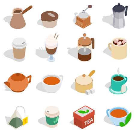 take out: Tea and coffee set in isometric 3d style isolated on white background. Vector illustration