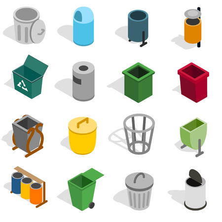 jammed: Trash bin icons set in isometric 3d style isolated on white background. Vector illustration Illustration