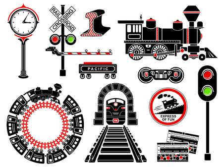 Eisenbahn-Symbole in einfachen Stil isoliert auf weißem Hintergrund. Vektor-Illustration