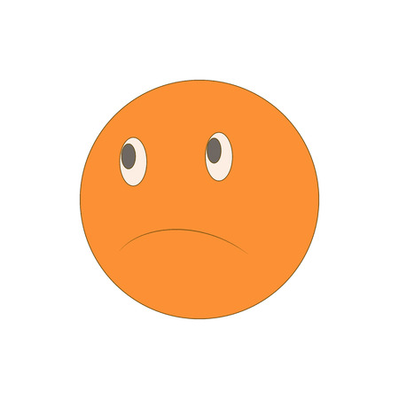 pitiful: Sad unhappy emoticon icon in cartoon style isolated on white background