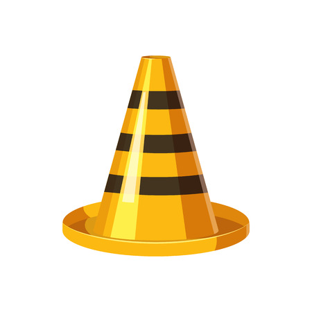 black and white cone: Yellow and black traffic cone icon in cartoon style on a white background