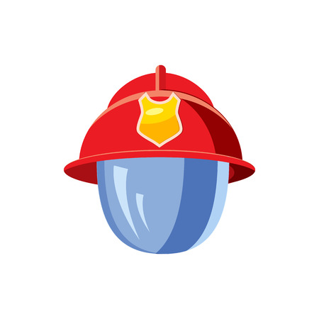 fireproof: Helmet for a firefighter with mask icon in cartoon style on a white background Illustration