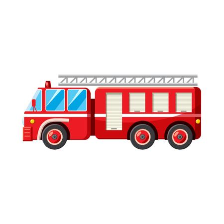 icono de camión de bomberos en el estilo de dibujos animados sobre un fondo blanco