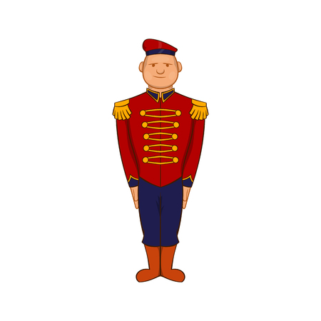 19th century style: Man wearing army uniform 19th century icon in cartoon style on a white background