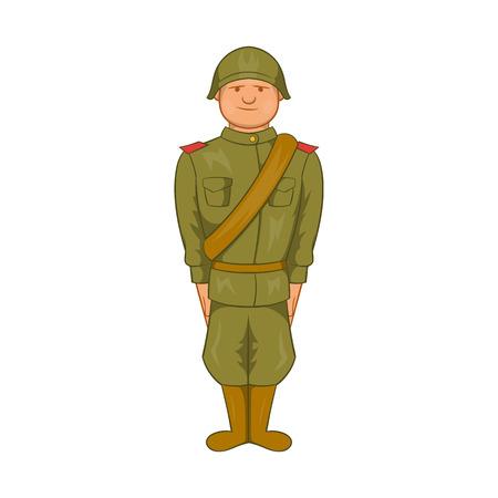 world war ii: Soviet uniform of World War II icon in cartoon style on a white background