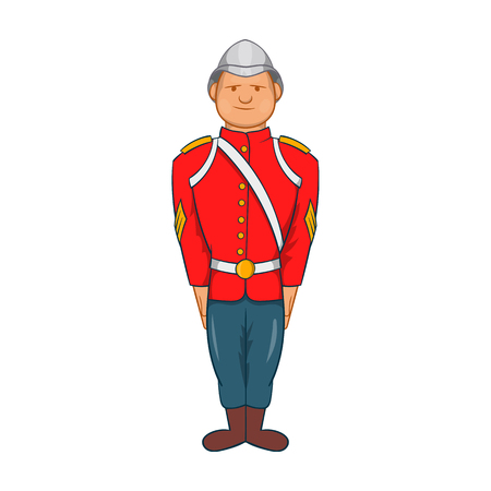 19th: Man in a red jacket and metal helmet, army uniform 19th century icon in cartoon style on a white background