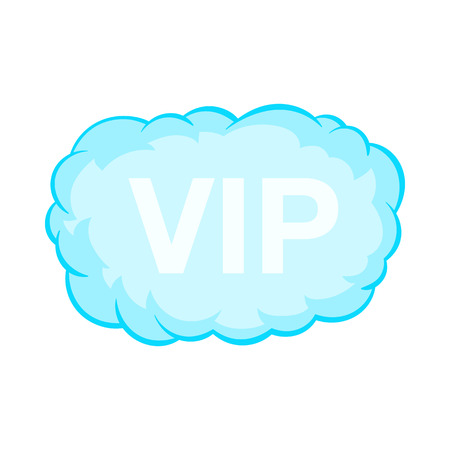 VIP word in a cloud icon in cartoon style on a white background Illustration