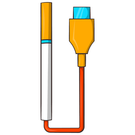 e cig: Electronic cigarette with USB cable icon in cartoon style on a white background
