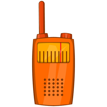 simplex: Orange portable handheld radio icon in cartoon style on a white background