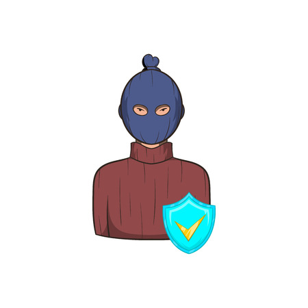 robber: Robbery insurance icon in cartoon style on a white background
