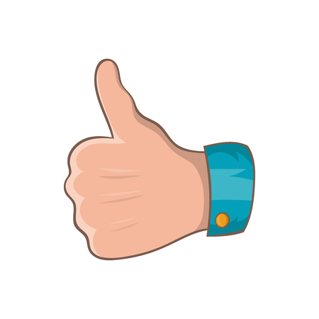 thumb up: Thumb up gesture icon in cartoon style on a white background