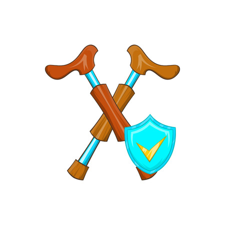 financial emergency: Crossed crutches and sky blue shield with tick icon in cartoon style on a white background Illustration