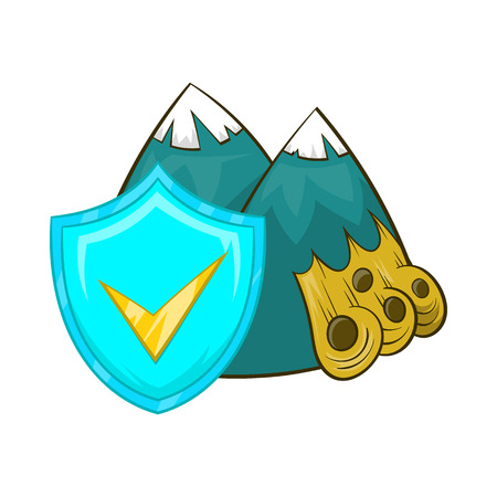 rockfall: Landslide and sky blue shield with tick icon in cartoon style on a white background