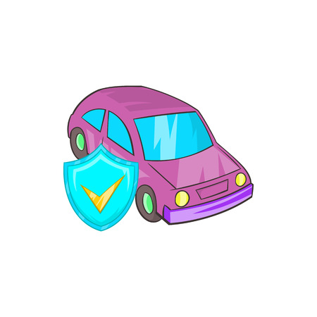 safely: Car insurance icon in cartoon style on a white background