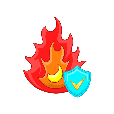 implosion: Fire and sky blue shield with tick icon in cartoon style on a white background Illustration