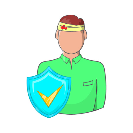 wound: Man with a wound on his head, accident insurance icon in cartoon style on a white background