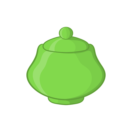 Green ceramic sugar bowl icon in cartoon style on a white background