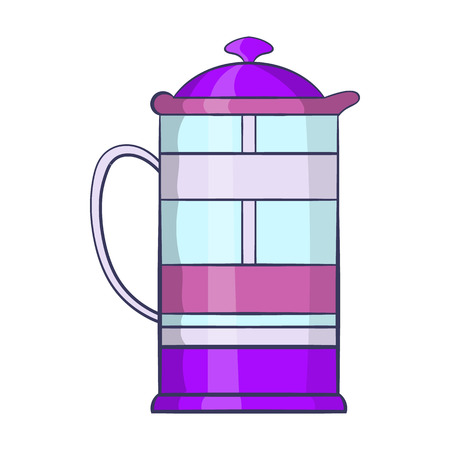 decanter: French press coffee maker icon in cartoon style on a white background Illustration