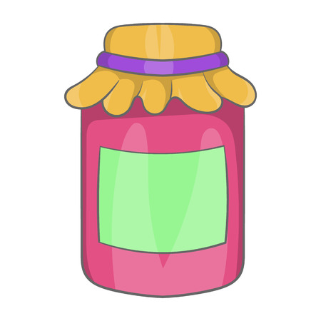 preserved: Jam in a glass jar icon in cartoon style on a white background Illustration