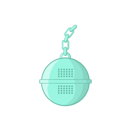 sifting: Steel strainer icon in cartoon style on a white background