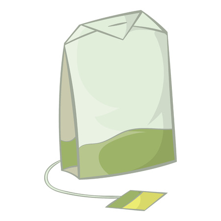 teabag: Teabag of green tea icon in cartoon style on a white background