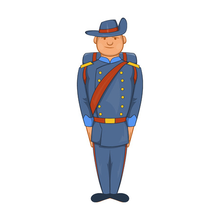 19th century style: Man in a blue army uniform 19th century icon in cartoon style on a white background