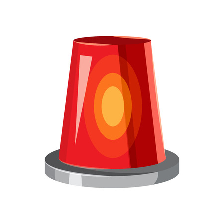 red siren: Siren red flashing emergency light icon in cartoon style on a white background