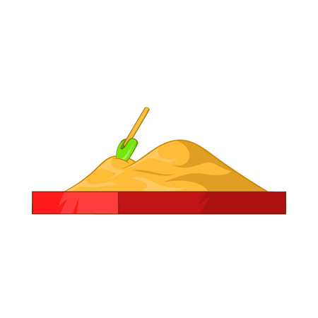 sandpit: Children sandpit icon in cartoon style isolated on white background. Entertainment for children symbol
