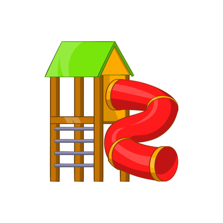kiddies: Slide pipe icon in cartoon style isolated on white background. Entertainment for children symbol