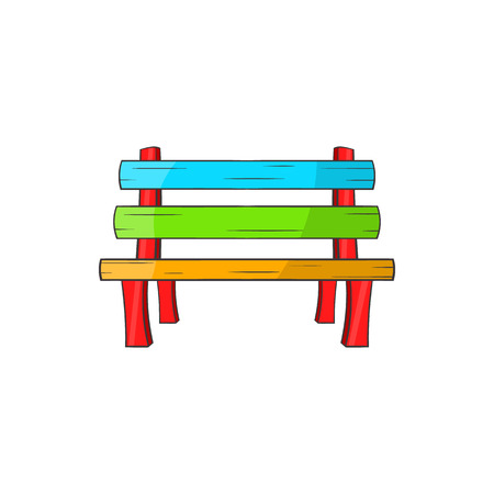 polished wood: Bench icon in cartoon style isolated on white background. Place for sitting symbol