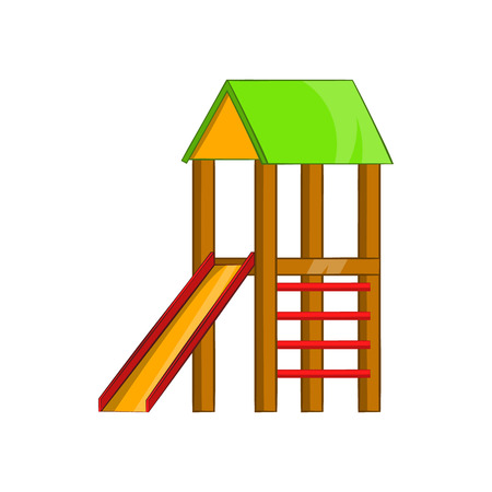 kiddies: Slide house icon in cartoon style isolated on white background. Entertainment for children symbol