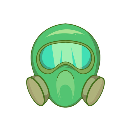 biological warfare: Gas mask icon in cartoon style isolated on white background. Equipment symbol