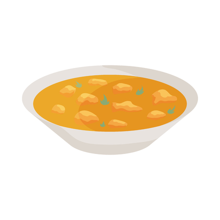 Indian soup icon in cartoon style isolated on white background. Food symbol Illustration