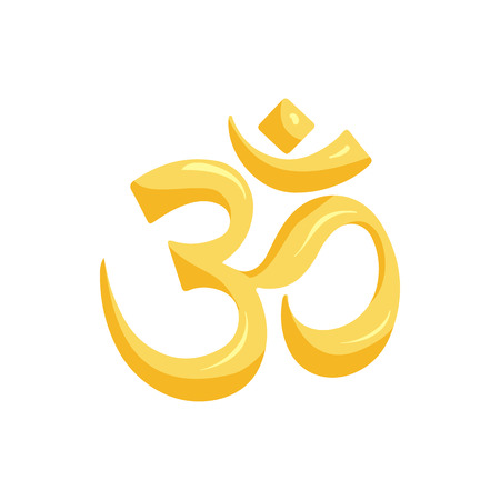 Om sign icon in cartoon style isolated on white background. Religion symbol