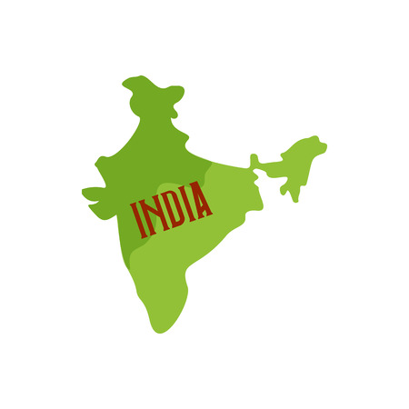 topografia: Map of India icon in cartoon style isolated on white background. State symbol Vectores