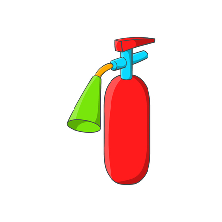 suppression: Fire extinguisher icon in cartoon style isolated on white background. Equipment fire symbol