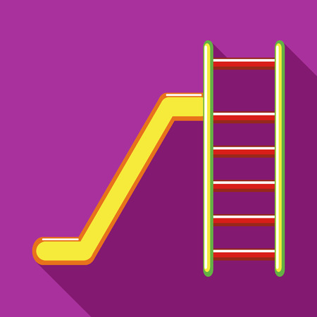 colorful slide: Playground colorful slide icon in flat style on a fuchsia background