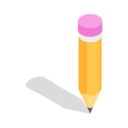 tip style design: Pencil icon in isometric 3d style isolated on white background. Draw symbol