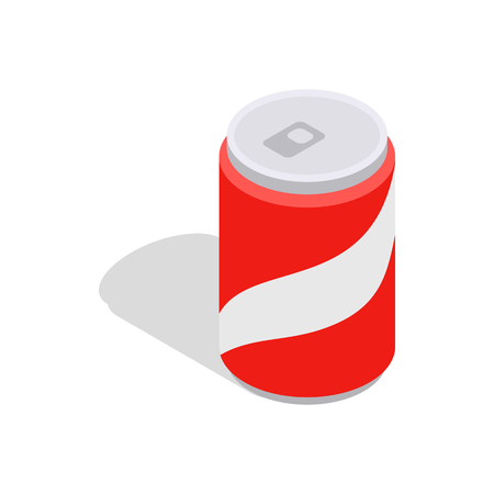 carbonated: Carbonated drink icon in isometric 3d style isolated on white background. Drinking symbol Illustration