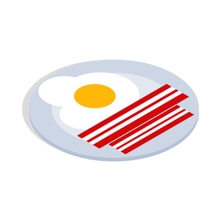 scrambled: Scrambled eggs icon in isometric 3d style isolated on white background. Food symbol