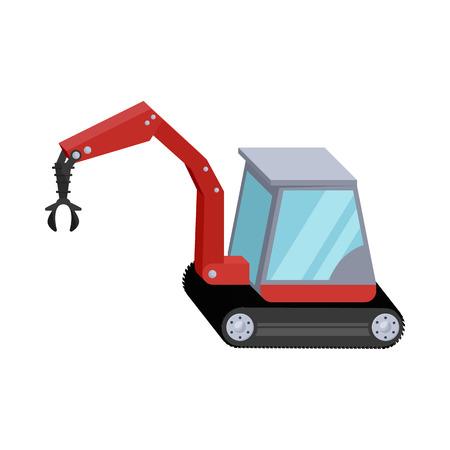hydraulic: Hydraulic crane icon in cartoon style isolated on white background. Machinery symbol