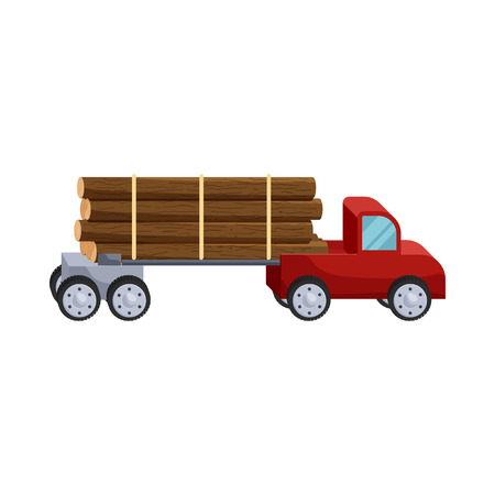felling: Logging truck logs icon in cartoon style isolated on white background. Felling symbol
