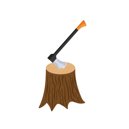 felling: Stump with axe icon in cartoon style isolated on white background. Felling symbol