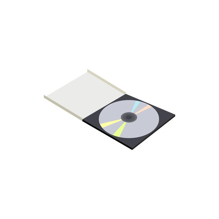 recordable: CD box icon in cartoon style on a white background Illustration
