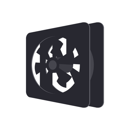 computer case: Computer case cooling fan icon in cartoon style on a white background